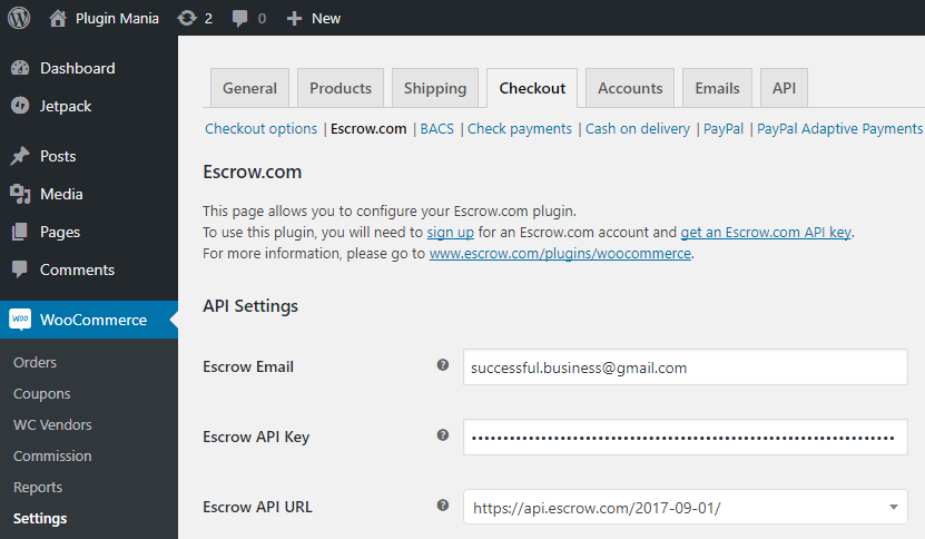 Escrow.com Settings Page in WooCommerce